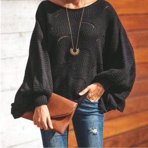 Black ribbed detail sweater